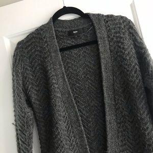 S || Grey Herringbone Knit Cardigan